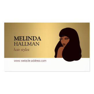 Glam Beauty Girl Faux Gold Hair Stylist, Salon Pack Of Standard Business Cards