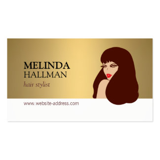 Glam Beauty Girl Faux Gold II Hair Stylist, Salon Pack Of Standard Business Cards