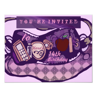 Glam birthday 11 cm x 14 cm invitation card