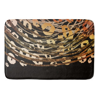 Glam Black Gold Bronze Cheetah Leopard Print Chic Bath Mat