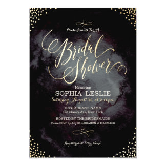Glam black gold glitter calligraphy Bridal Shower Card