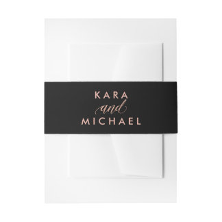 Glam Black with Faux Rose Gold and Calligraphy Invitation Belly Band