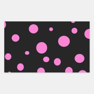 Glam Black with Pink Polka Dots Rectangular Sticker