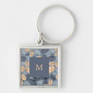 Glam Blue Dots with Gold | Monogram Key Ring