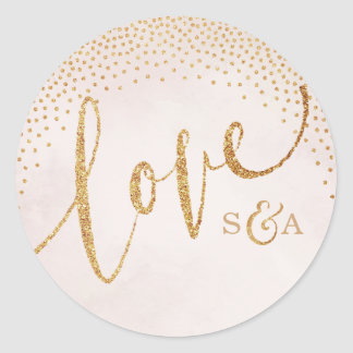Glam blush glitter rose gold calligraphy love round sticker
