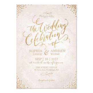 Glam blush glitter rose gold calligraphy wedding card