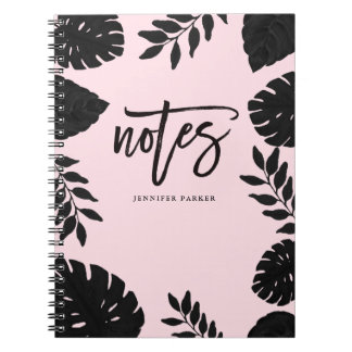 Glam Blush Pink and Black Tropical Notes Notebook