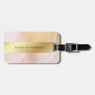 Glam Blush Pink and Faux Gold Luggage Tag