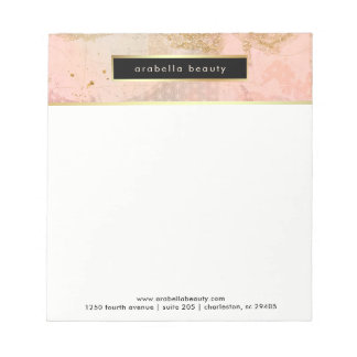 Glam Blush Pink, Black, and Faux Gold Business Notepad