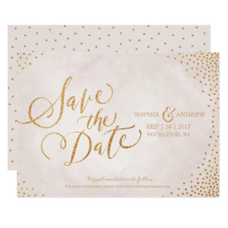 Glam blush rose gold calligraphy save the date 13 cm x 18 cm invitation card