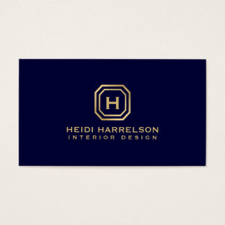 Glam Box Logo Monogram on Dark Blue Designer Business Card