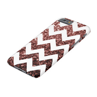 Glam Brown Red Glitter sparkles + White Chevron Barely There iPhone 6 Case