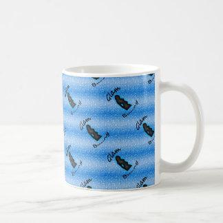 Glam Bunny Logo on Faux Blue Glitter 11 oz Mug