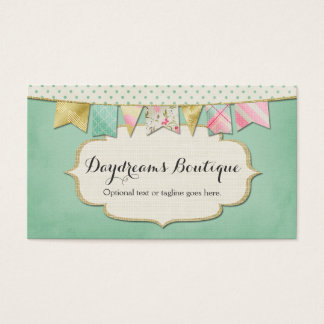 Glam Bunting, Pink & Gold - Daydreams Boutique Business Card