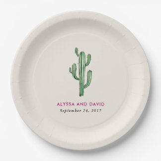 Glam Cactus Wedding Paper Plate