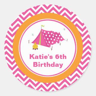 Glam Camp Makeover Girls Birthday Envelope Seal Sticker