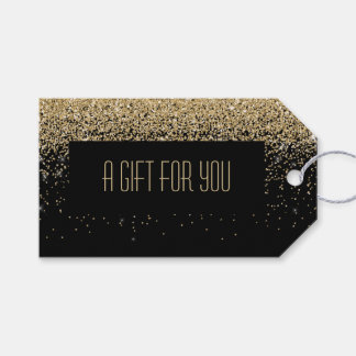 Glam Cascades of Gold Glitter Black Background Gift Tags