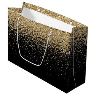 Glam Cascades of Gold Glitter Black Background Large Gift Bag