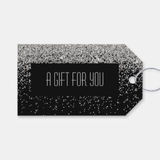 Glam Cascades of Silver Glitter Black Background Gift Tags
