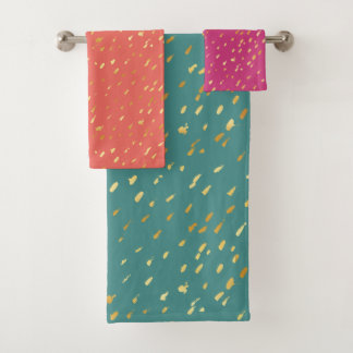 Glam chic gold splatter exotic colors towel set