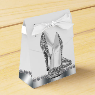Glam Chic Silver Glitter High Heel Shoe Favour Box
