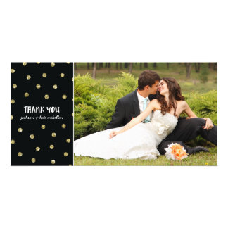 Glam Confetti | Faux Foil Wedding Thank You Personalised Photo Card