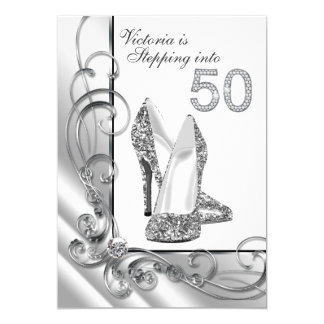 Glam Diamond Stepping Into 50 Birthday Party 13 Cm X 18 Cm Invitation Card