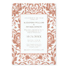 Glam Elegant Faux Rose Gold Glitter Damask Wedding Card