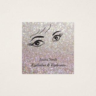 Glam  elegant glittery alluring heart eyes square business card