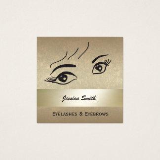 Glam  elegant gold alluring heart eyes square business card