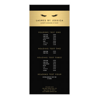 Glam Eyelashes Black and Gold Rack Card