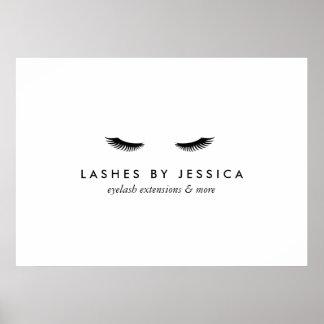 Glam Eyelashes Black and White Poster