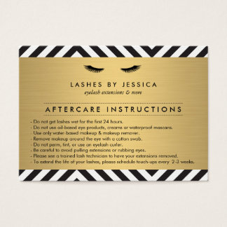 Glam Eyelashes with Bold Pattern Aftercare Card