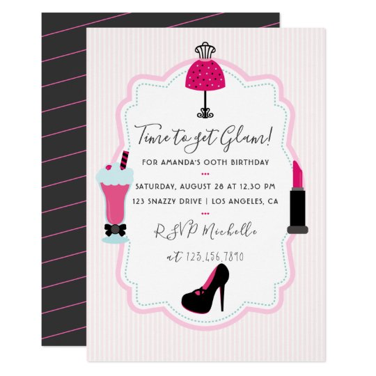 Glam Fashion Diva Birthday Party Invitation