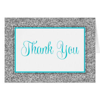 Glam Faux Glitter Silver Teal Blue Thank You Note Card
