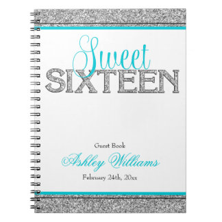 Glam Faux Glitter Silver Teal Sweet 16 Guest Book