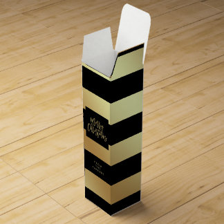 Glam Faux Gold and Black Stripes | Merry Christmas Wine Gift Box
