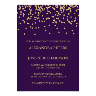 Glam Faux Gold Confetti and Deep Purple Wedding Card