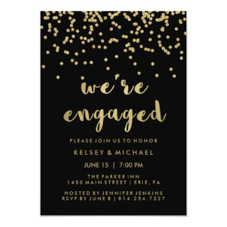 Glam Faux Gold Confetti on Black Engagement Party Card