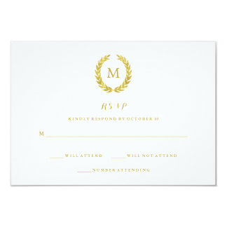 Glam Faux Gold Foil Laurel Wreath Monogram RSVP Card
