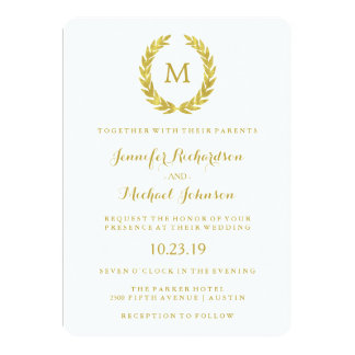 Glam Faux Gold Foil Laurel Wreath Monogram Wedding Card