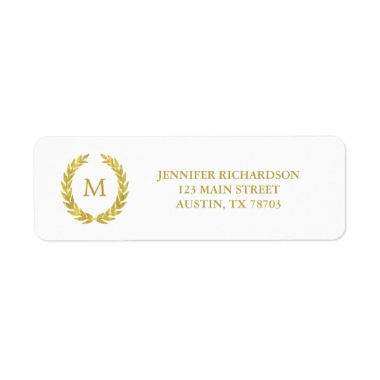 Glam Faux Gold Foil Laurel Wreath Monogram Wedding Return Address Label