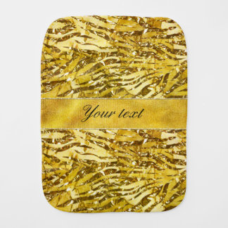 Glam Faux Gold Foil Zebra Pattern Baby Burp Cloths