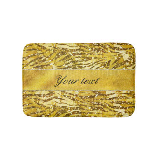 Glam Faux Gold Foil Zebra Pattern Bath Mat