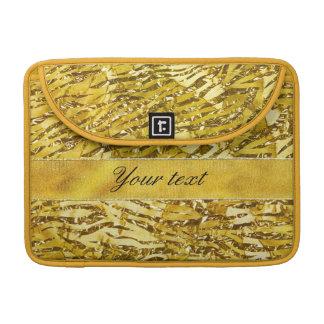 Glam Faux Gold Foil Zebra Pattern MacBook Pro Sleeves