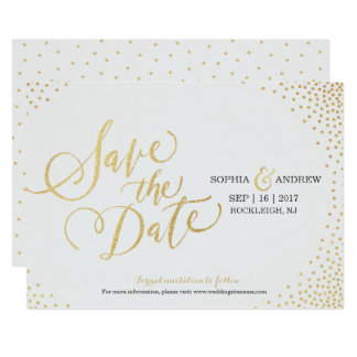 Glam faux gold glitter calligraphy save the date 13 cm x 18 cm invitation card