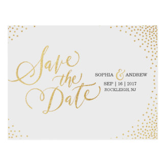 Glam faux gold glitter calligraphy save the date postcard