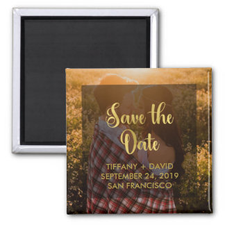 Glam Faux Gold Look Save the Date with Photo Magnet