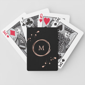 Glam Faux Rose Gold Look on Black Bicycle Playing Cards