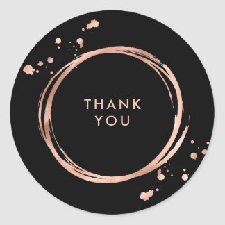 Glam Faux Rose Gold Look on Black Classic Round Sticker